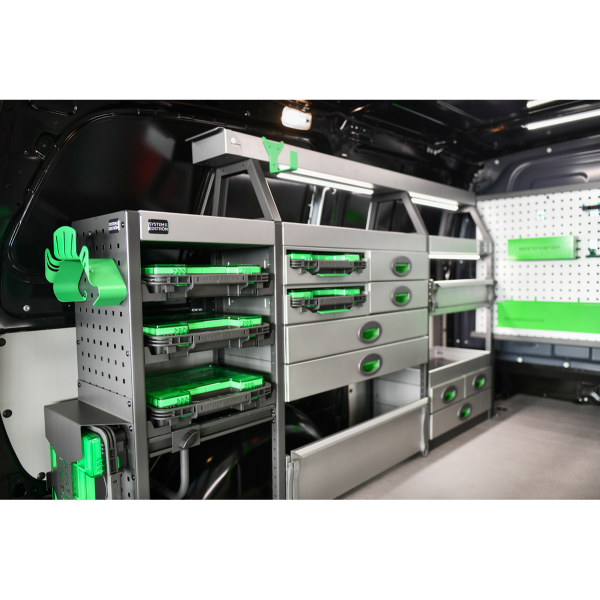 Pakettiauton hyllyjärjestelmä   System Edström